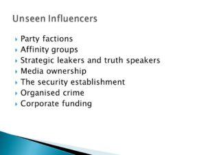 Slide lists unseen influencers
